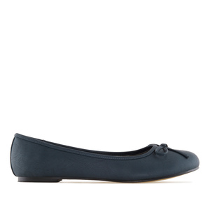 Dark blue faux-pull-leather Ballerinas with bow.