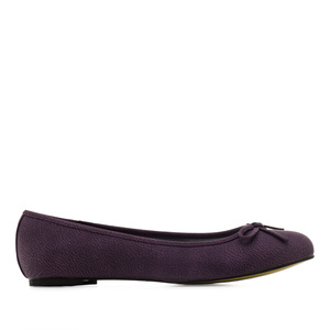 Purple faux-pull-leather Ballerinas with bow.
