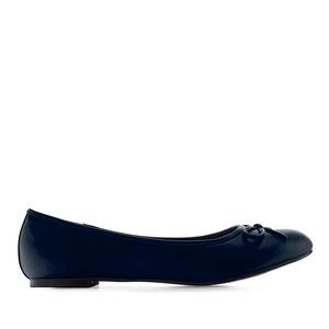 Flat classic ballerina, large sizes, imitation leather in blue navy