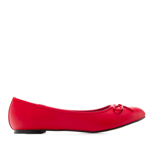 Flat classic ballerina, large sizes, imitation leather in red