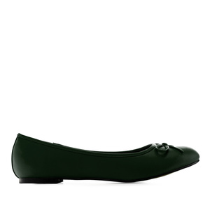 Flat classic ballerina, large sizes, imitation leather in green