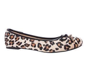 Leopardikuvio nahkajäljitelmä ballerina
