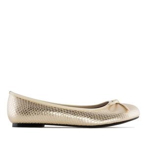 Ballet Flats in Gold Snake Print