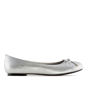 Ballet Flats in Silver Snake Print