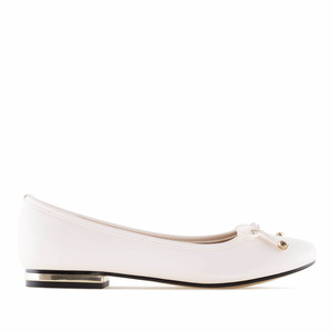 Beige faux Leather Ballet Flats