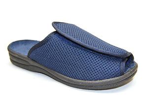 Zapatilla cómoda Velcro ancho ajustable azul marino