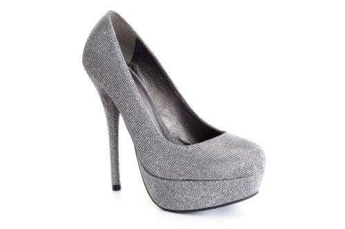 Cipele na platformu sa visokom štiklom, srebrne prošarane