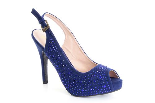 Otvorene cipele na štiklu sa štrasom, plave
