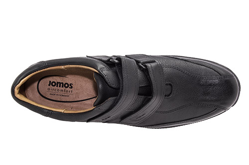 Slipper de cuero Negro doble Velcro.
