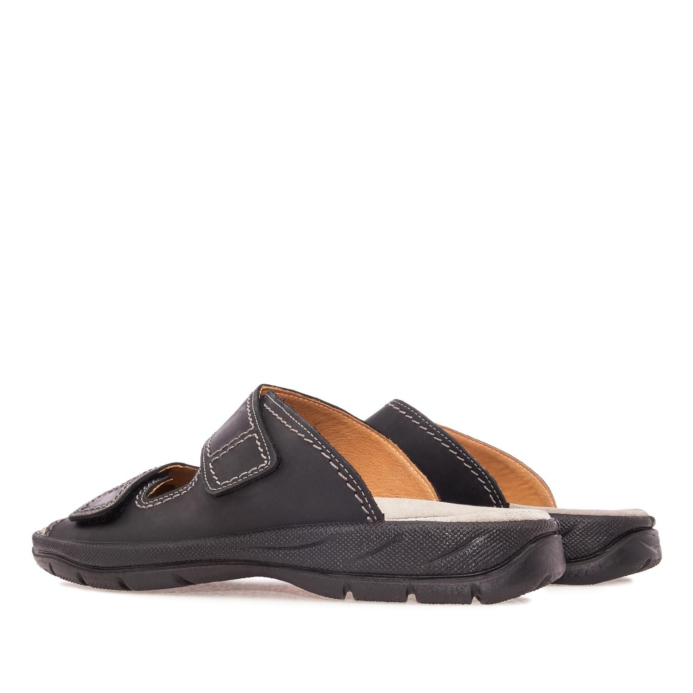Sandalias caballero piel color Negro, con Velcro