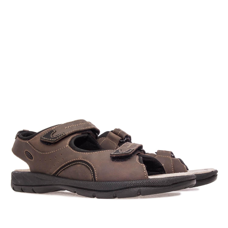 Sandalias de Caballero de Piel Marrón