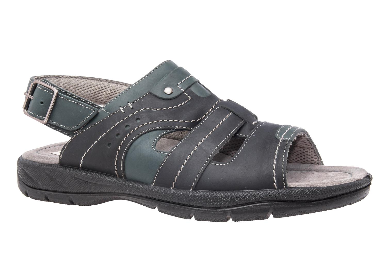 Sandalias de Caballero de Piel Negro con tira trasera