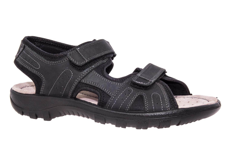Sandalias de Caballero de Piel Negro con Velcro