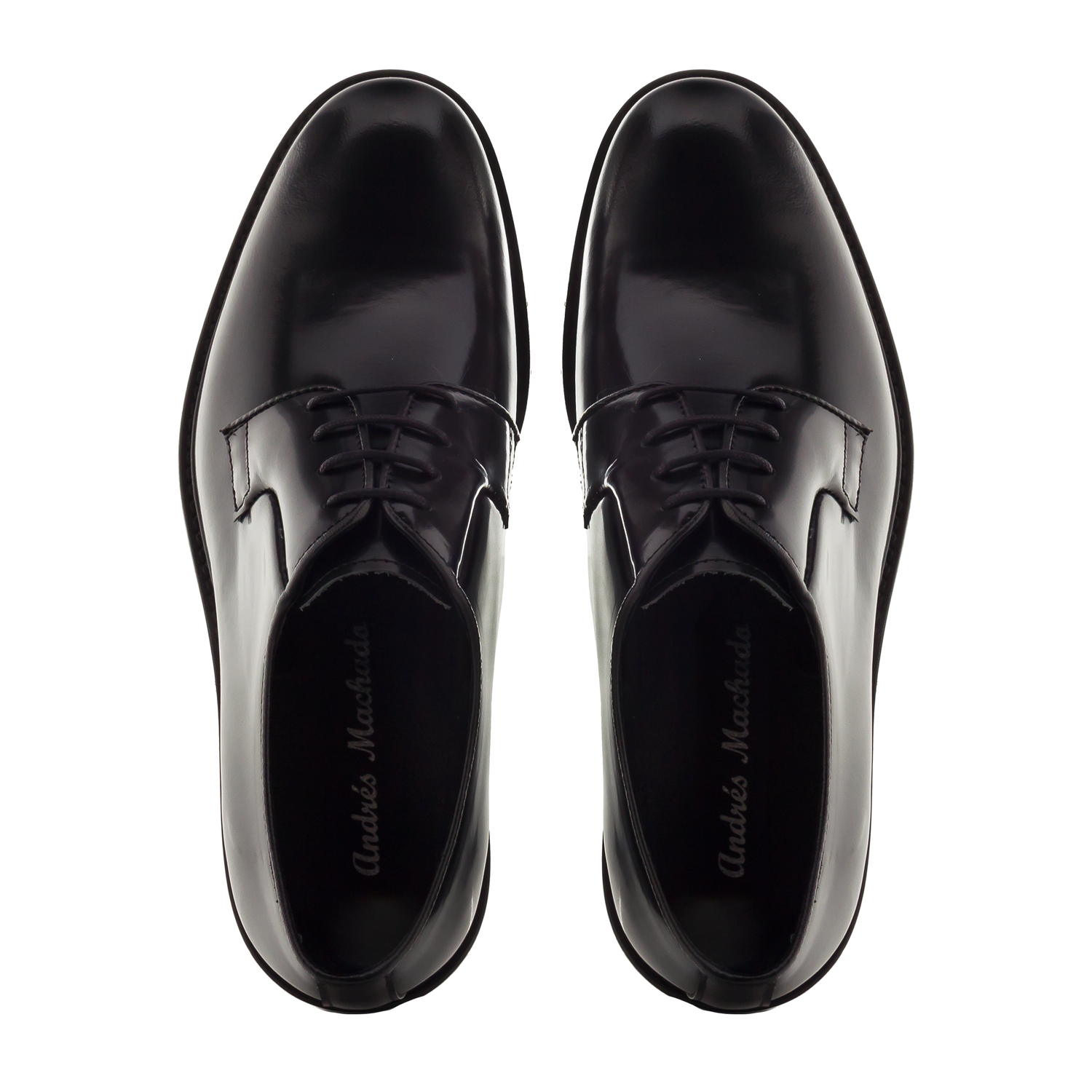 Antik Black Leather Lace-Up Shoes