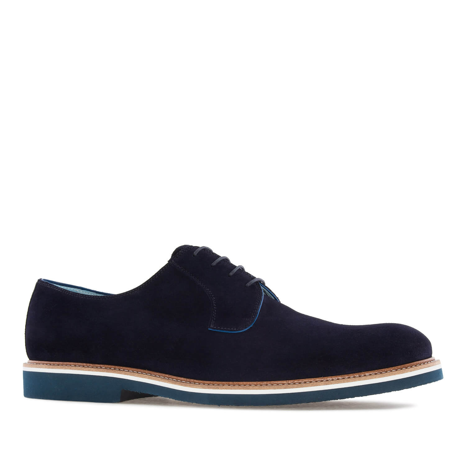 oxford shoes in blue split leather shoes gold