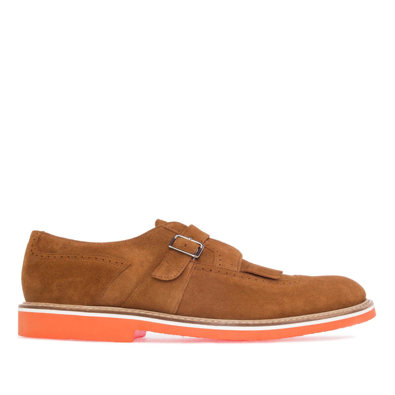 Zapato de Caballero estilo Oxford en Piel Serraje Camel
