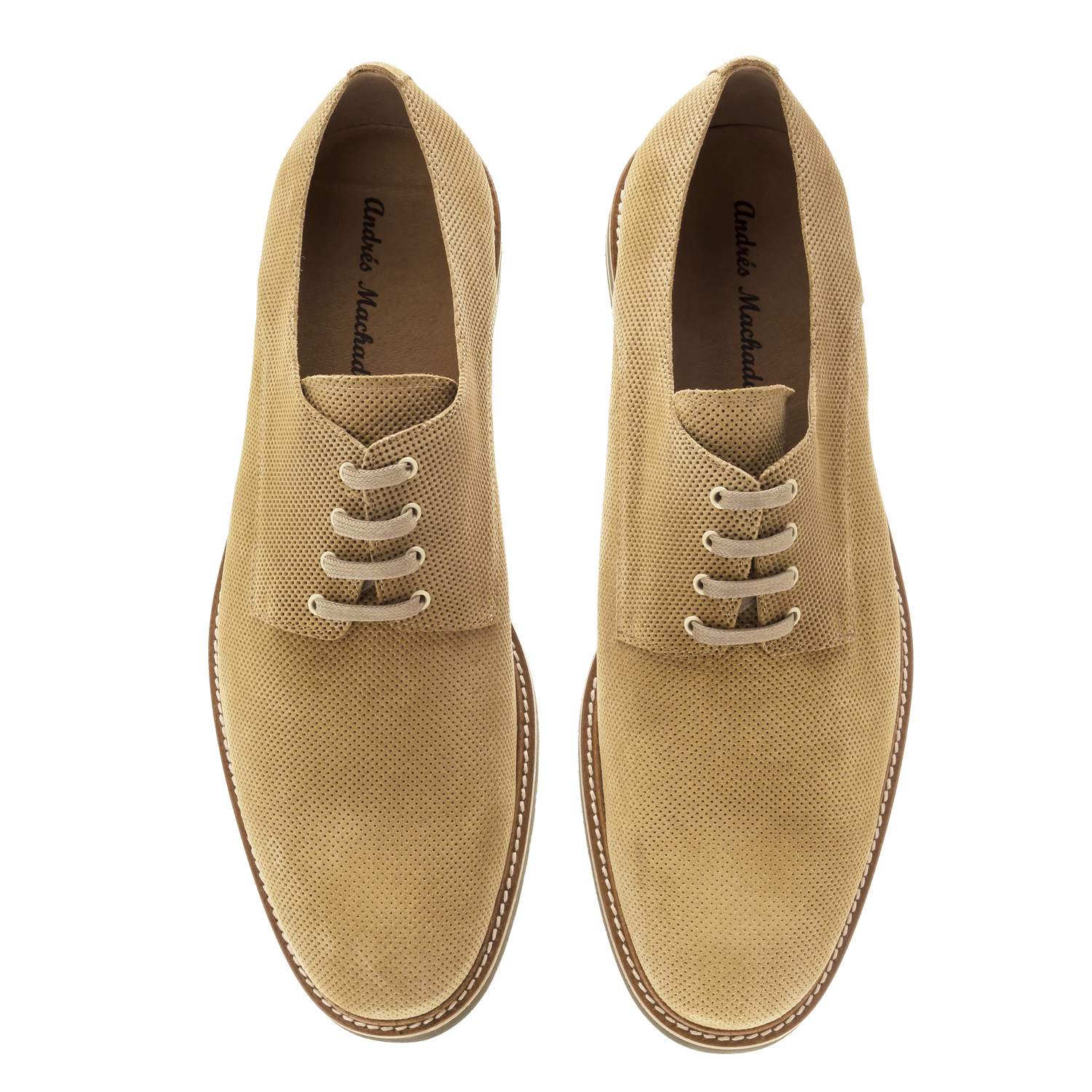 Lace-Up Shoes in Camel Split Leather