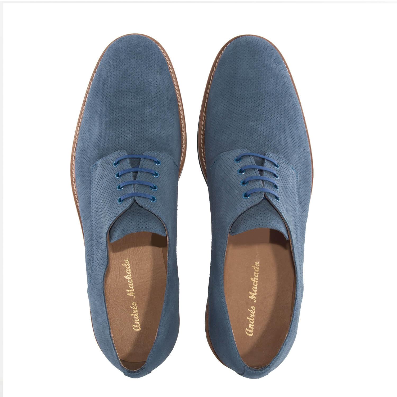 Kožené semišové pánské polobotky, dírkované. Modrá jeans.
