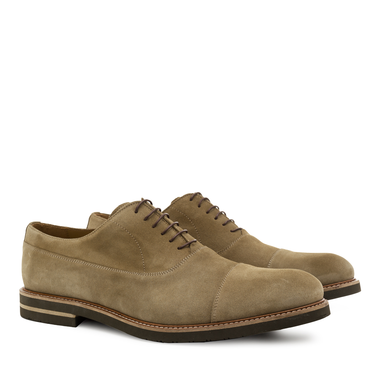 Oxford Shoes in Beige Split Leather