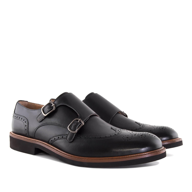 Kožená pánská obuv Monkstrap Oxford. Černá.