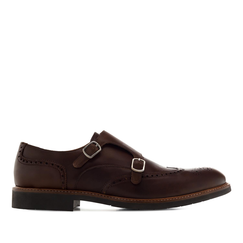 Kožne cipele sa dekorativnim šnalama, braon
