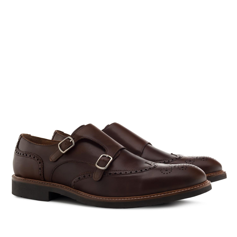 Kožená pánská obuv Monkstrap Oxford. Hnědá.