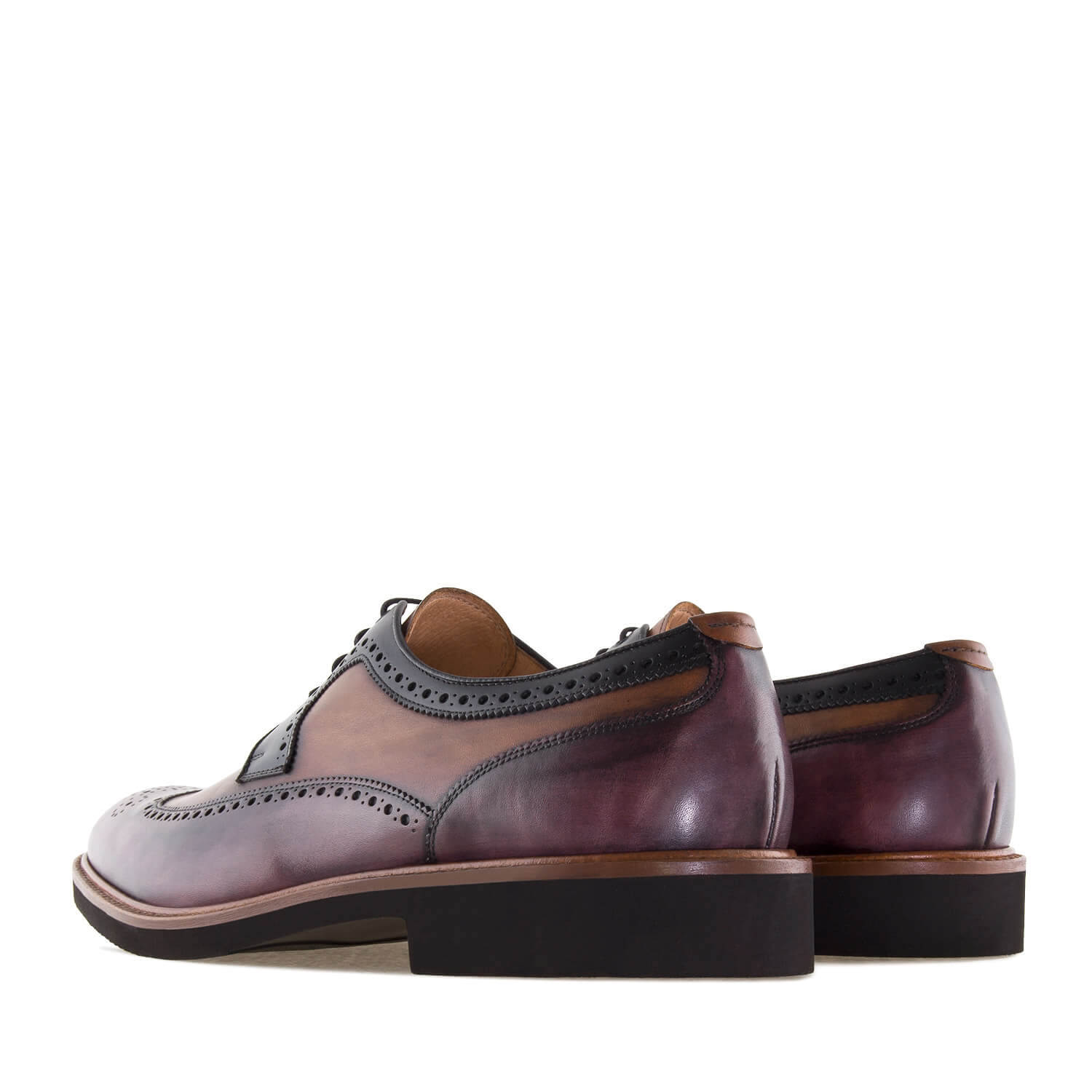 Oxford Shoes in Tricolor Leather