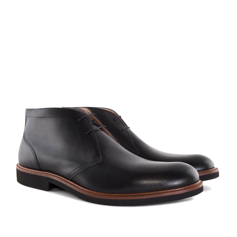 Pánská kožená kotníčková obuv. Černá.