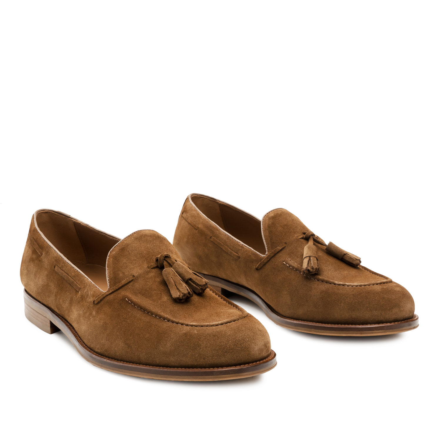 Men's Tassle Moccasins in Camel Split Leather