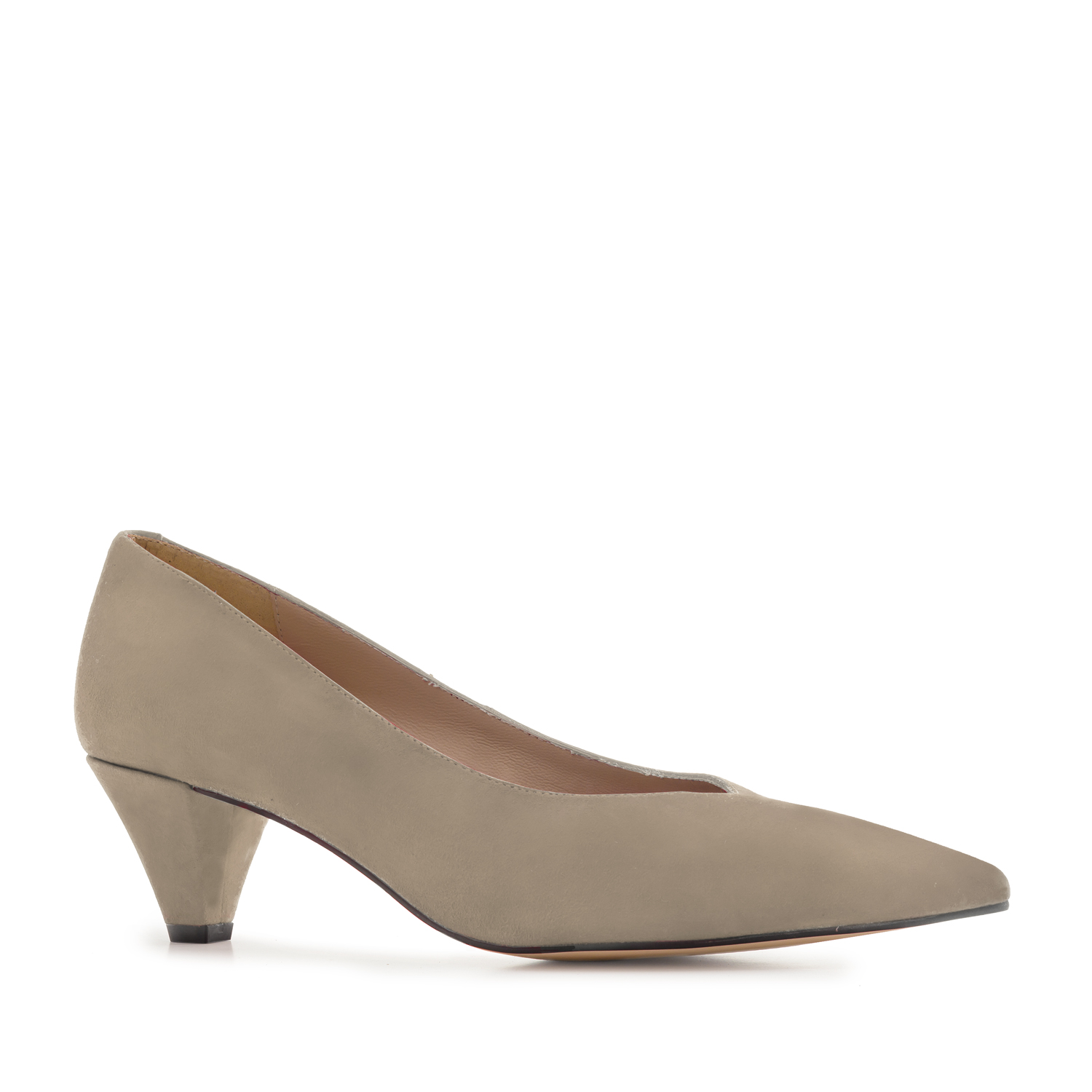 Fine Tip Beige Suede Court Shoes