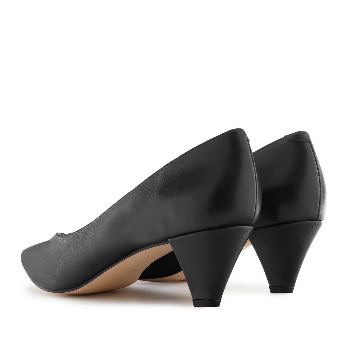 Fine Tip Black Nappa Leather Court Shoes