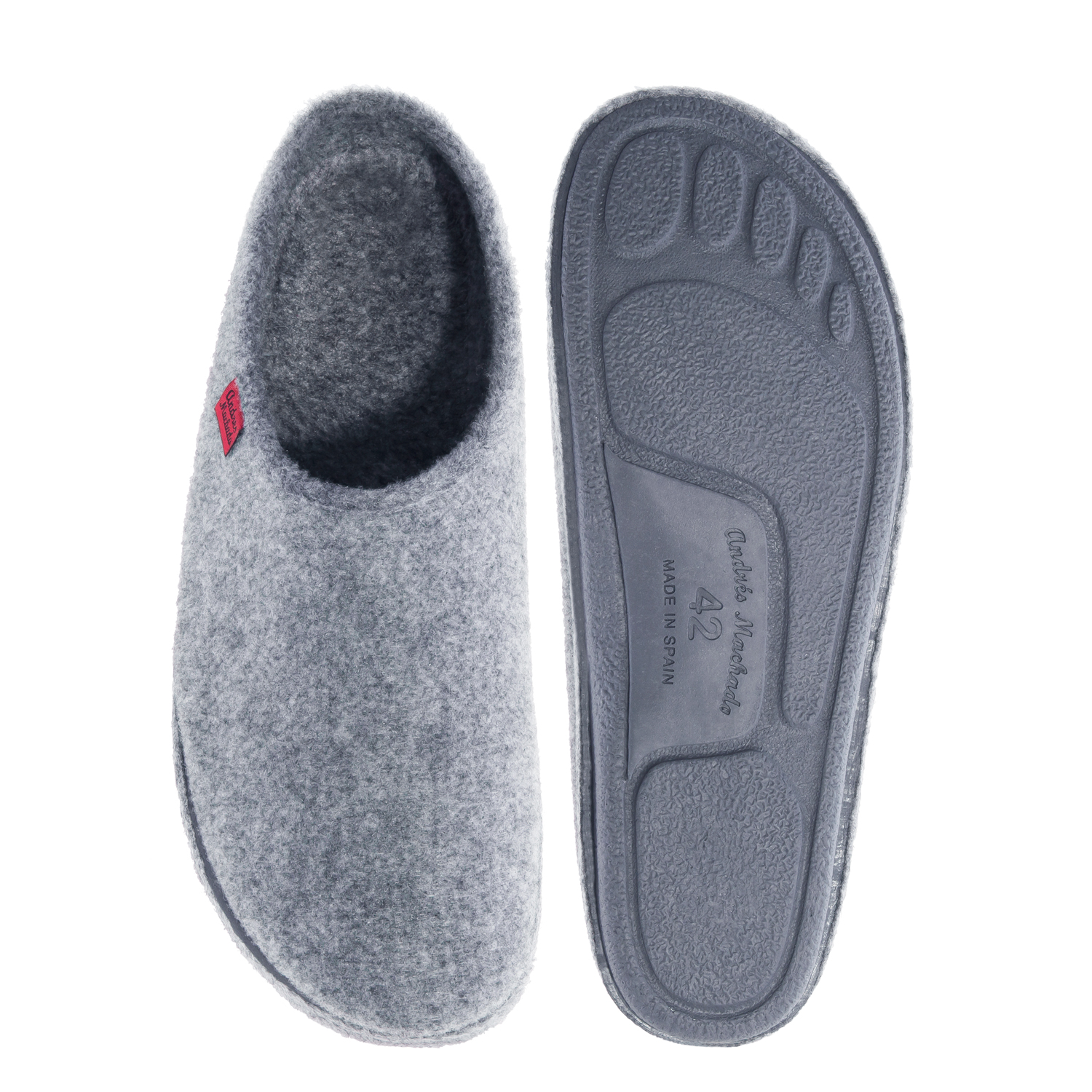 Very comfortable Grey Felt Slippers with footbed