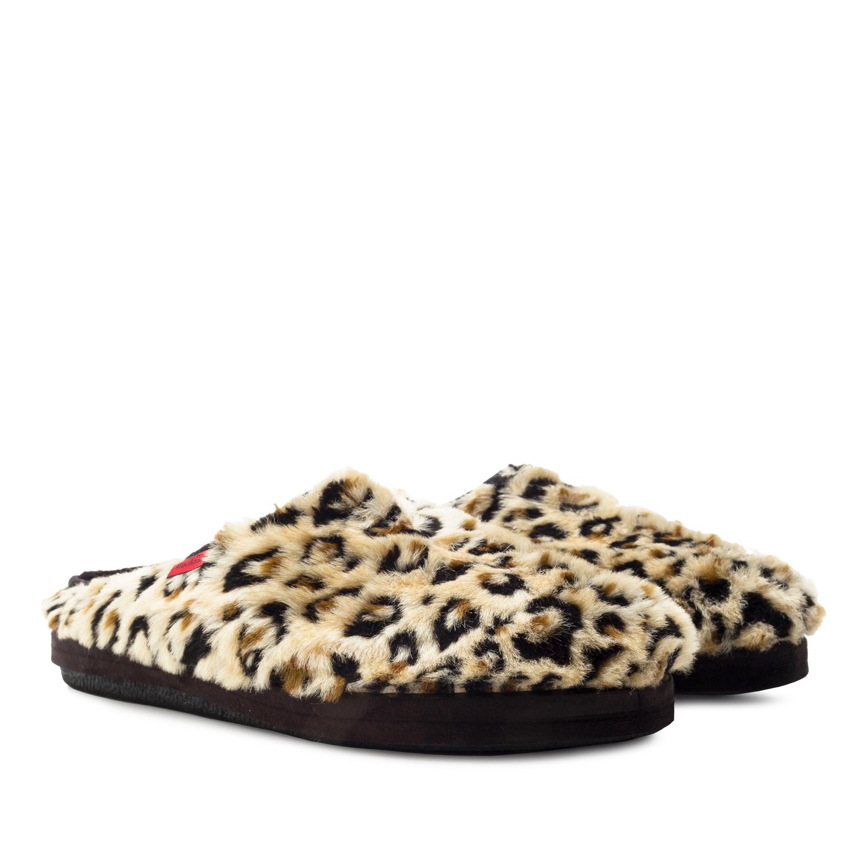 Zapatillas de Pelo Largo con estampado de Leopardo.