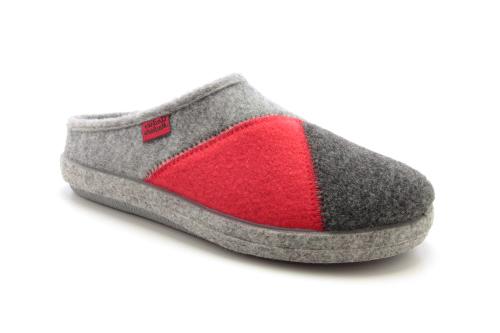Módní červeno šedé bačkory- pantofle Alpino. Materiál jemná plsť.