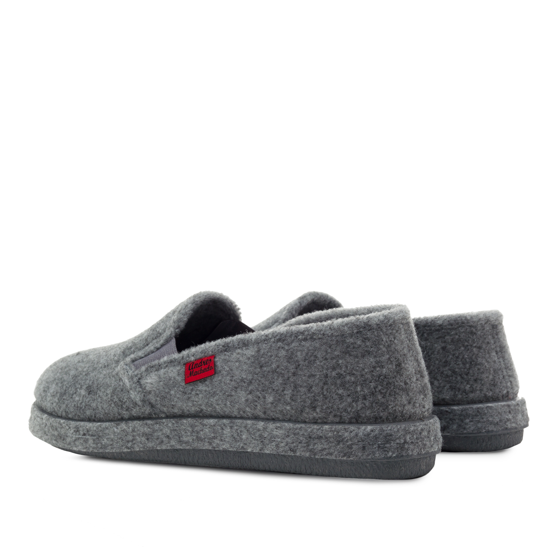 Grey Alpine Felt Closed-Back Slippers