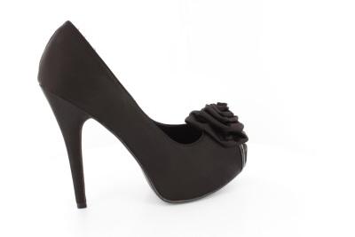 Satenske cipele sa ukrasnim cvetom, crne
