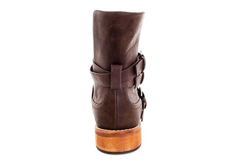 Bajkerske ravne čizme sa šnalama, braon