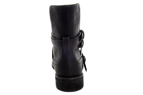 Bajkerske ravne čizme sa šnalama, crne