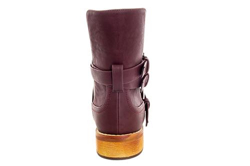 Bajkerske ravne čizme sa šnalama, boja vina