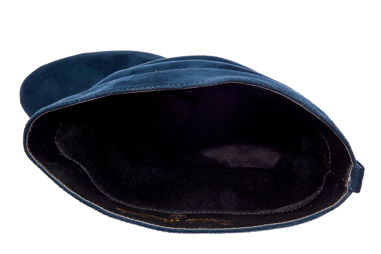 Sininen mokkajäljitelmä ryppyvarsi korkosaapas