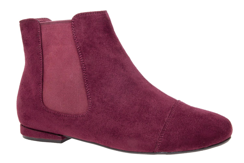 Semišová kotníčková obuv styl Chelsea. Barva vínová.