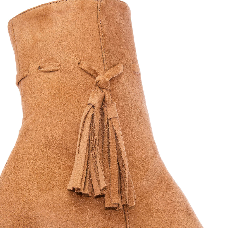 Semišové nízké kozačky na podpatku. Barva camel.