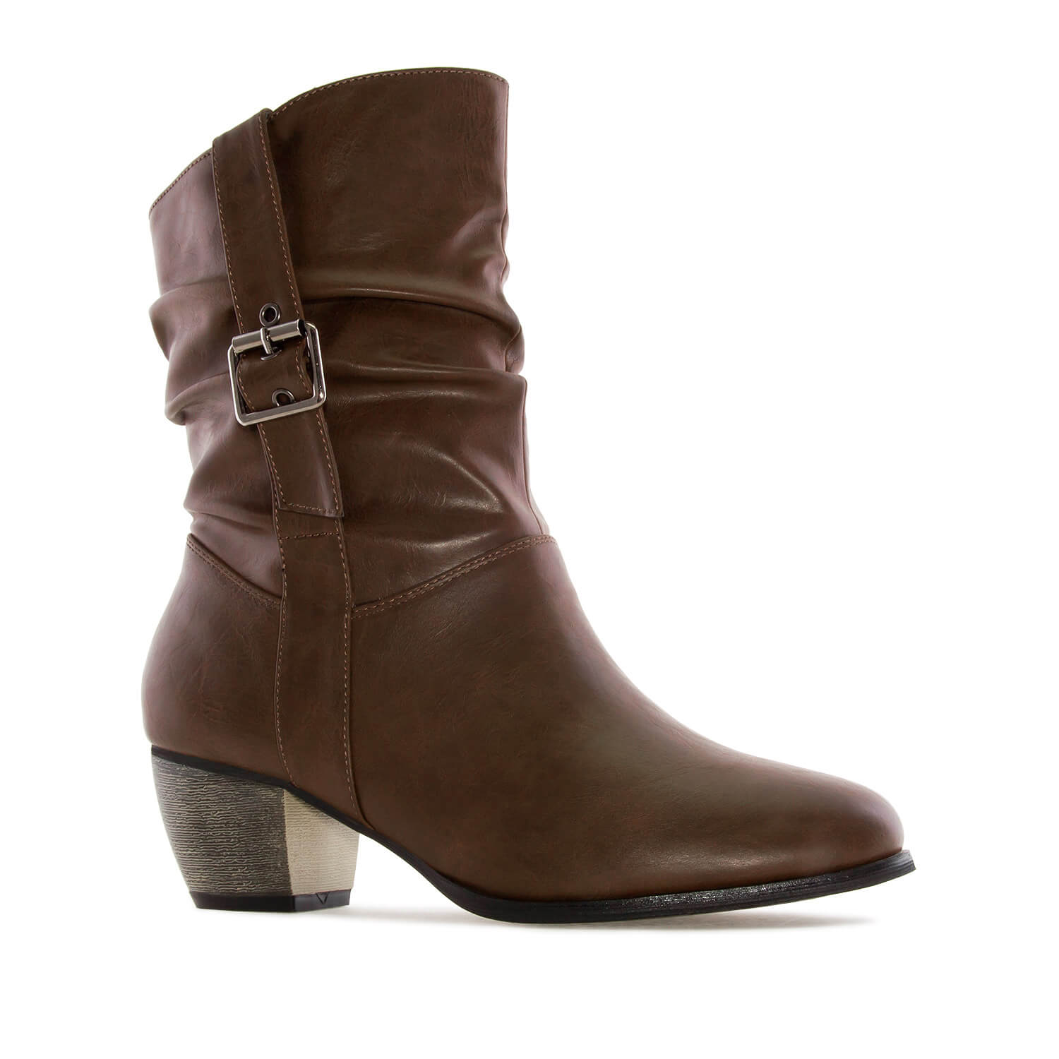 Mid-Calf Buckle Boots in Brown faux Leather