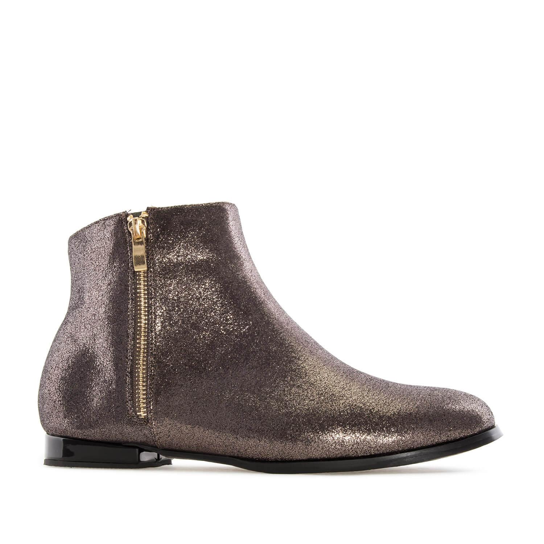Ravne kratke čizme sa štrasom, bronzane