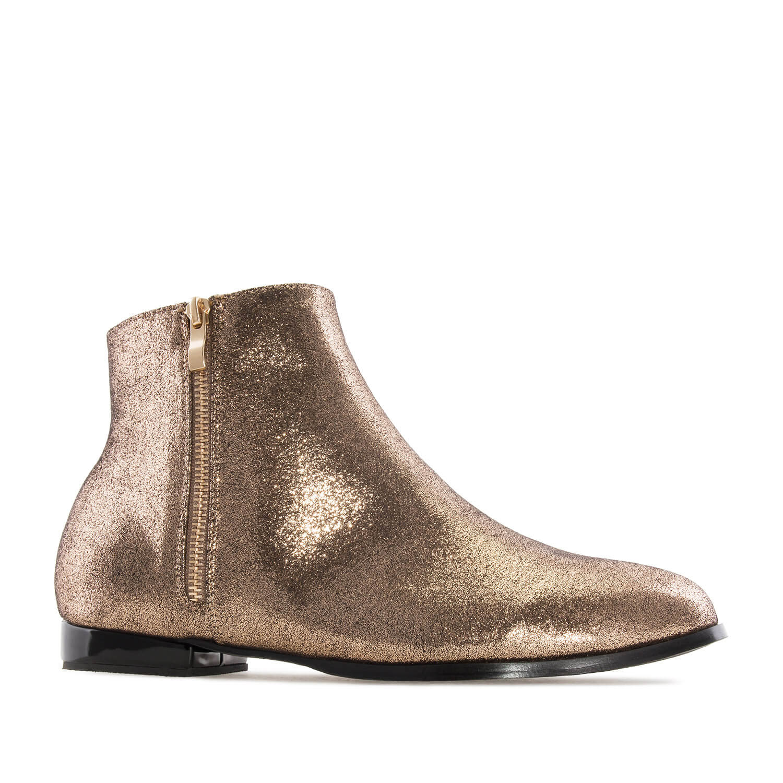 Ravne kratke čizme sa štrasom, zlatne