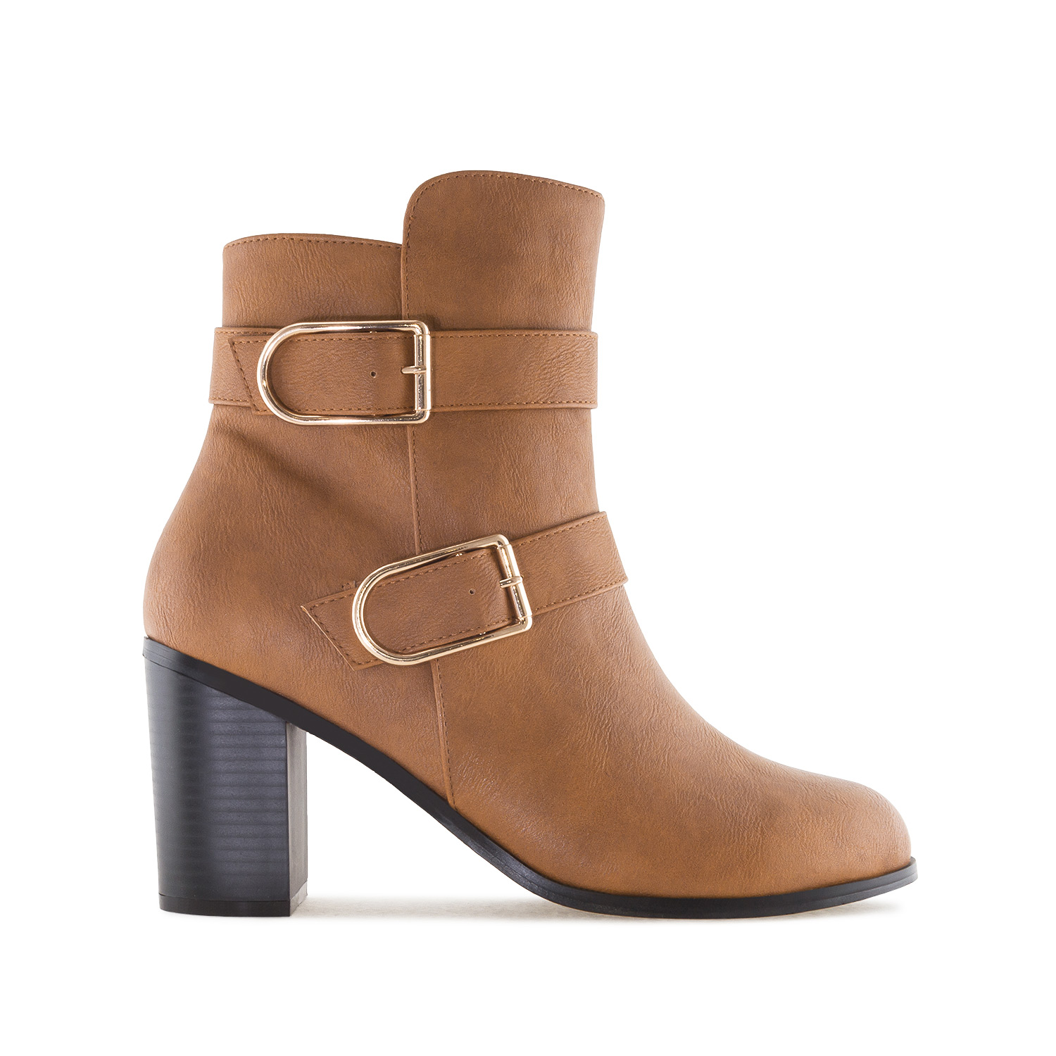 2-Buckle Ankle Boots in Camel faux Leather