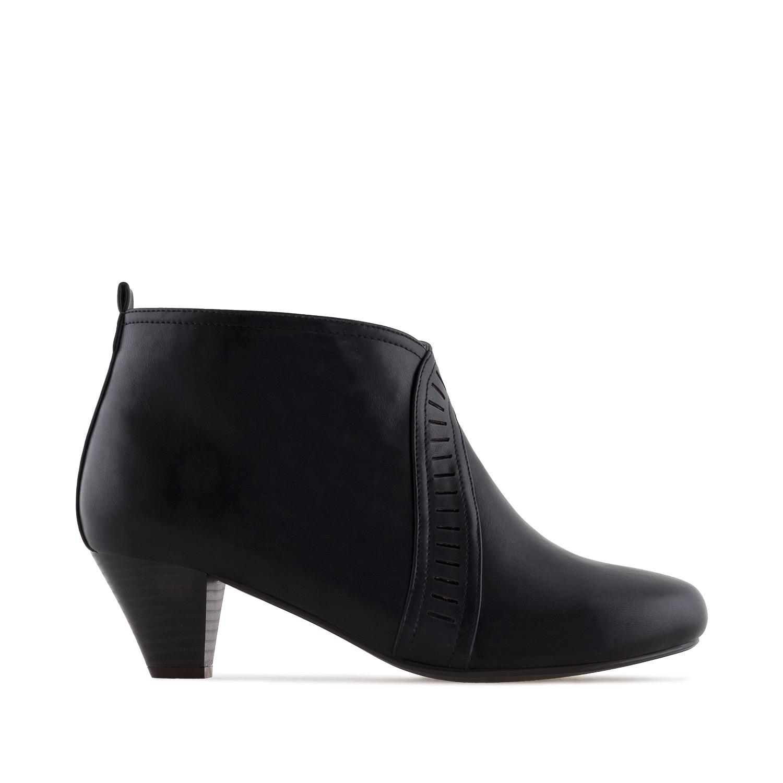 Dámská kotníčková obuv na podpatku. Černá.