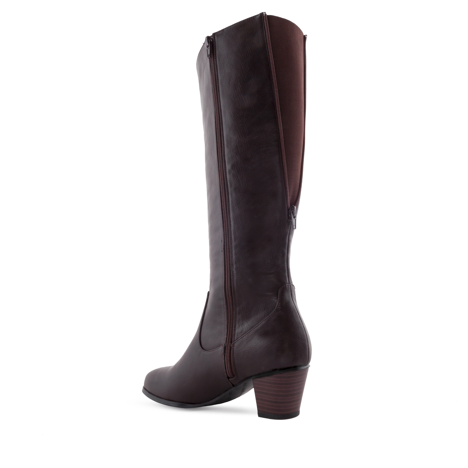 Boots in Brown faux Leather with elastic