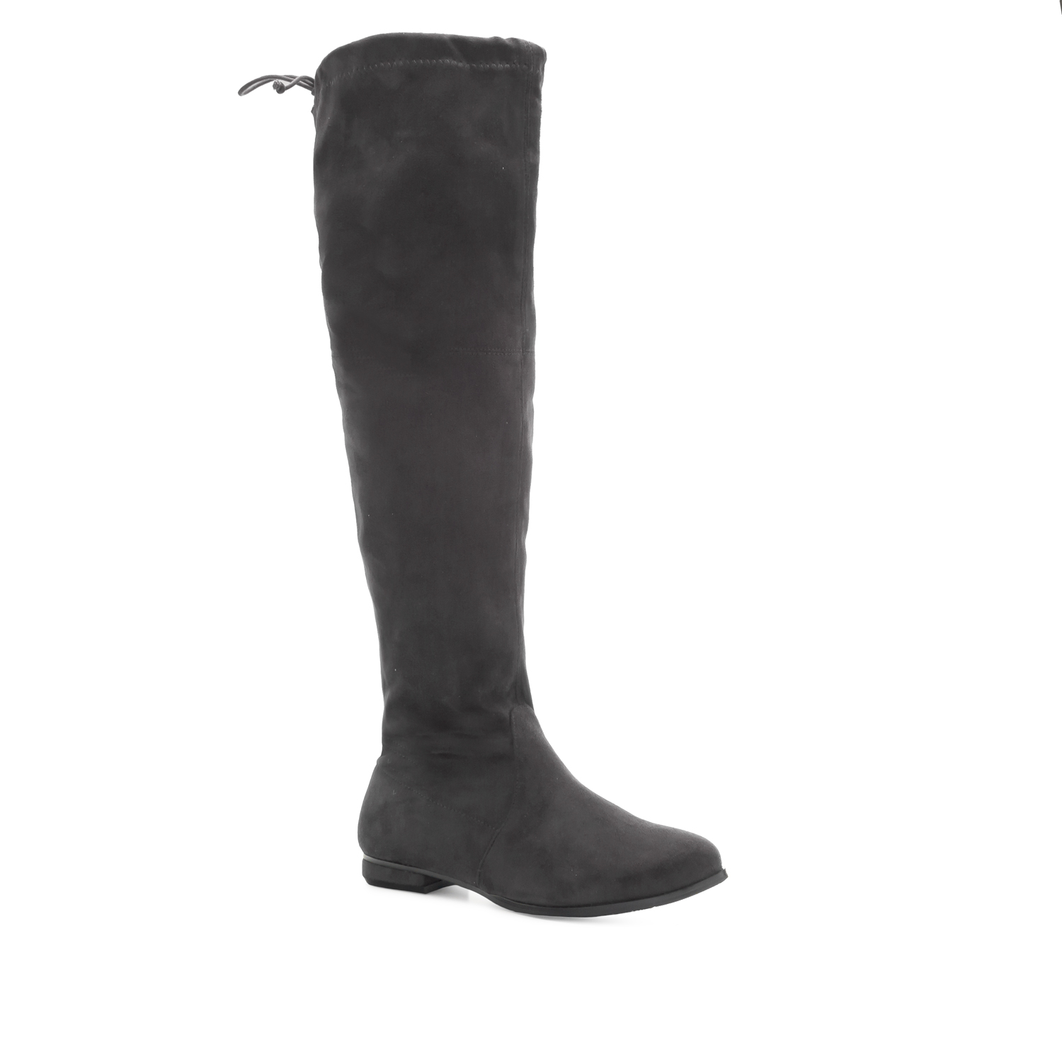 Thigh High Boots in Grey Suede