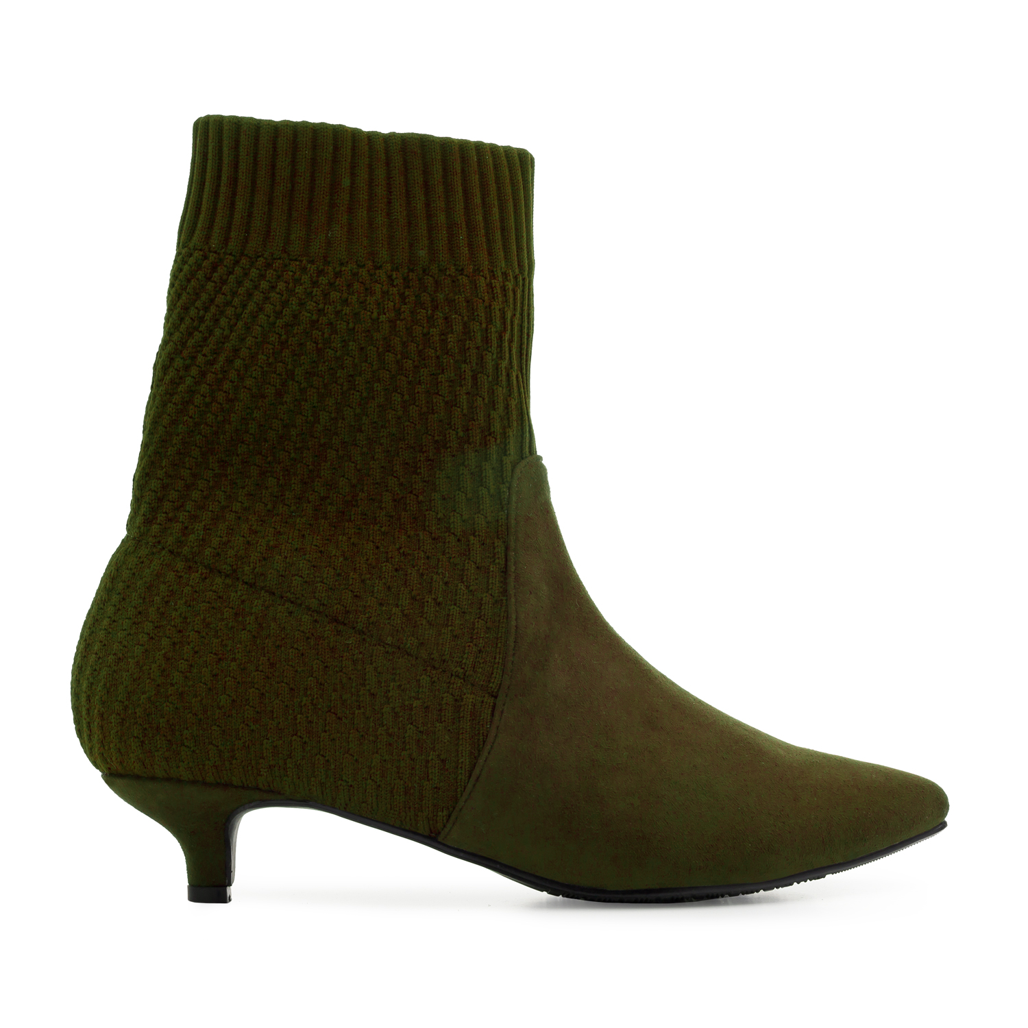 Sock Booties in Olive Green Suede